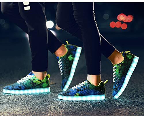 Sportive And Light Men For Tecniche Flash Uomo Da Led Outdoor 7 verde Cool Colori Women Casual Moda Blue Lovers Scarpe Shoes Traspirante Mesh Skateboard qwAnxpC4