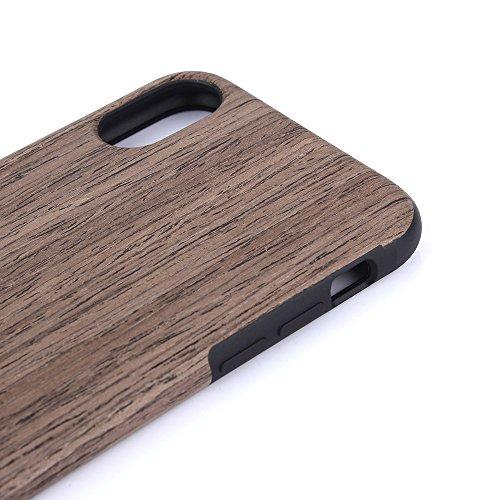 GGG Simple TPU souple Grain de bois anti-rayures Téléphone Shell téléphone Coque Clair Étui Housse pour iPhone X 10 - Noir