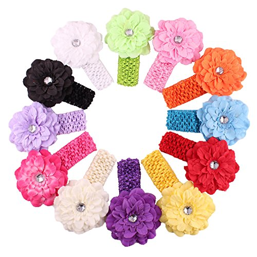 Qandsweet Baby Girl's Headbands with Flower (Peony 12 Pack) (Best Baby Costume)