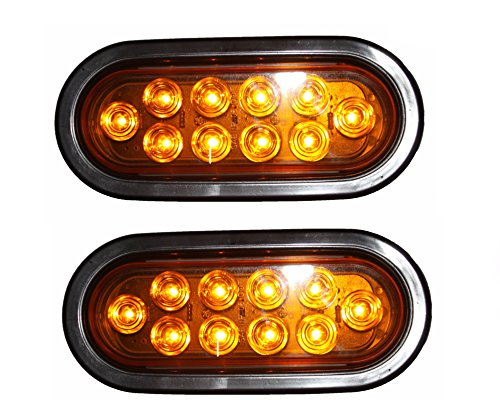 Grommet and Plug Red Oval 6 Sealed LED Turn Signal and Parking Light Kit with Light 1 Pack