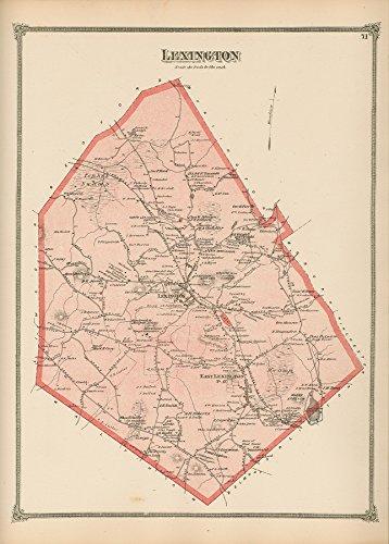 Lexington Massachusetts 1875 Old Town Map Homeowner Names- Middlesex (Map 1875 Atlas)