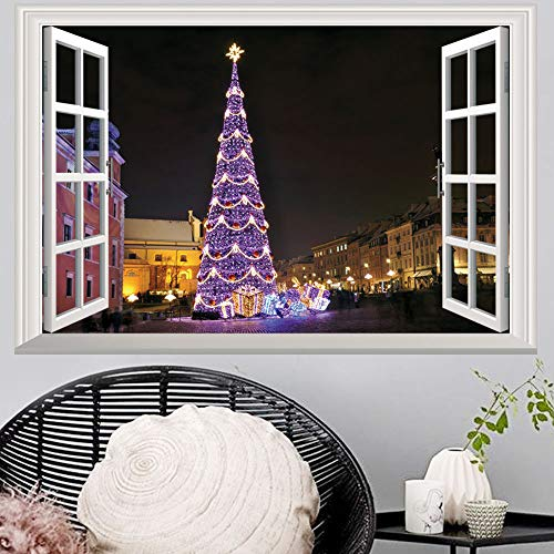 Creative 3D Space Wall Decals - Removable PVC Window Christmas Tree Stickers Murals Wallpaper Art Decor for Home Walls Ceiling Boys Room Kids Bedroom Nursery School -