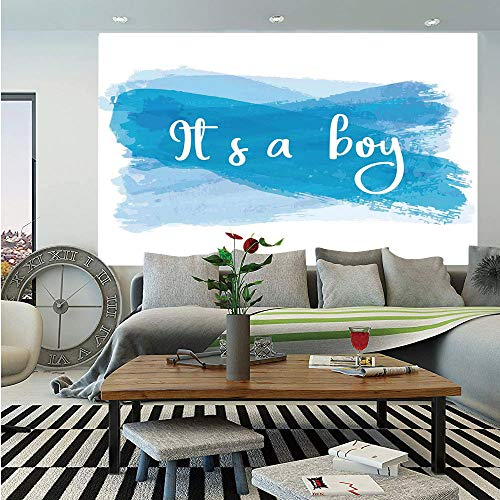 SoSung Gender Reveal Decorations Wall Mural,Its A Boy Message Abstract Announcement Illustration,Self-Adhesive Large Wallpaper for Home Decor 55x78 inches,Violet Blue White Boy Digital Photo Announcement