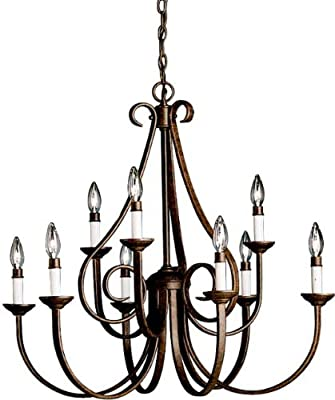 Kichler 2031TZ, Dover Large Candle 2 Tier Chandelier Lighting, 9 Light, 540 Watts, Tannery Bronze