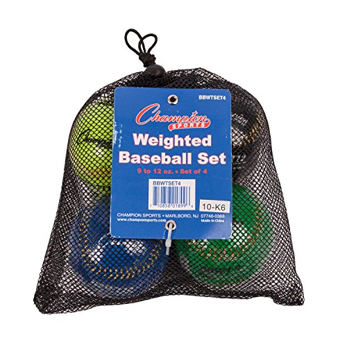 Curve Training Baseball (Champion Sports Weighted Baseball Set: Official Size Colorful Baseballs for Kids, Boys & Girls - Youth League Training & Pitching Equipment - 4 Balls)