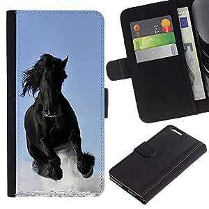 Billetera de Cuero Caso del tirón Titular de la tarjeta Carcasa Funda del zurriago para Apple Iphone 6 PLUS 5.5 / Business Style Majestic Mustang Horse
