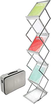 Deflecto 6 Pocket Floor Stand Silver