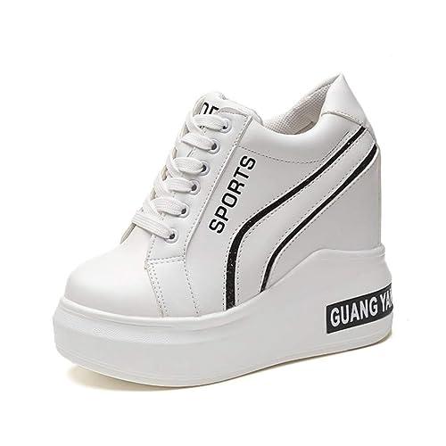 bf9af635704c9 Amazon.com | Women's Vulcanize Wedge Sneaker Platform White Casual ...