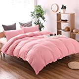 THEE 3 Piece Solid Color Pink Quilt Cover Bedding Duvet Cover Set(Twin)