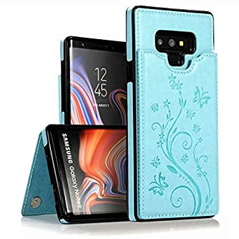 Galaxy Note 9 Wallet Case,Vodico Slim Protective Case With Credit Card Slot Holder Vintage Embossed Butterfly Flowers Flip Folio Soft Pu Leather Magnetic Closure Stand Cover For Women/Girl (Aqua) by Vodico