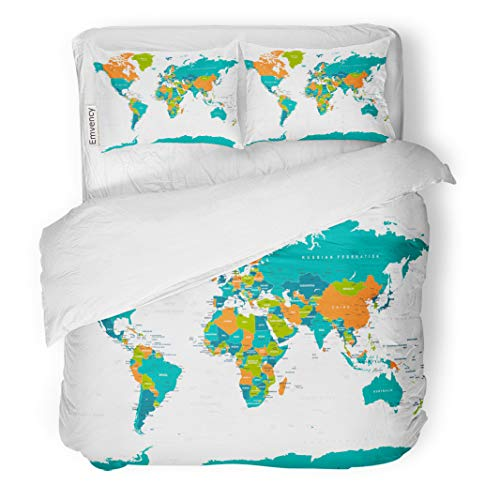Semtomn Decor Duvet Cover Set Twin Size Blue Africa Political Physical Topographic Colored World Map Green 3 Piece Brushed Microfiber Fabric Print Bedding Set Cover ()
