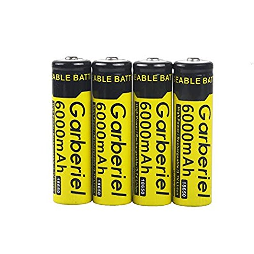 Garberiel 8 PC 18650 Battery 6000 mAh 3.7v Performance Li-ion Rechargeable Batteries + 2 x Dual Chargers