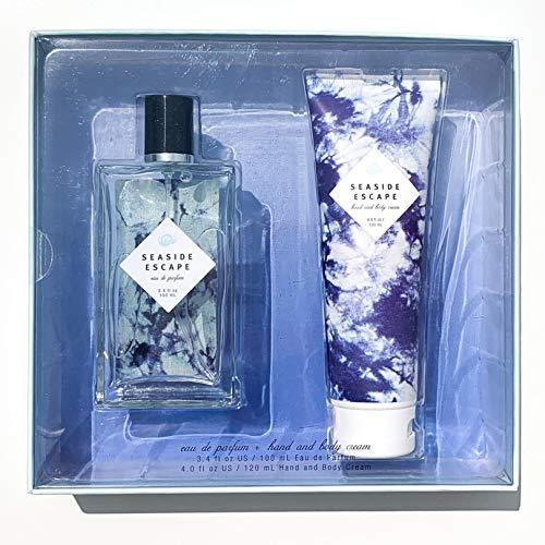 - Seaside Escape Eau De Parfum + Lotion Gift Set by Tru Fragrance and Beauty - Fruity Floral Perfume + Body Cream - Bergamot, Jasmine, Sea Salt Lotus & Ocean Musk - 3.4 oz Perfume + 4.0 oz Hand Cream