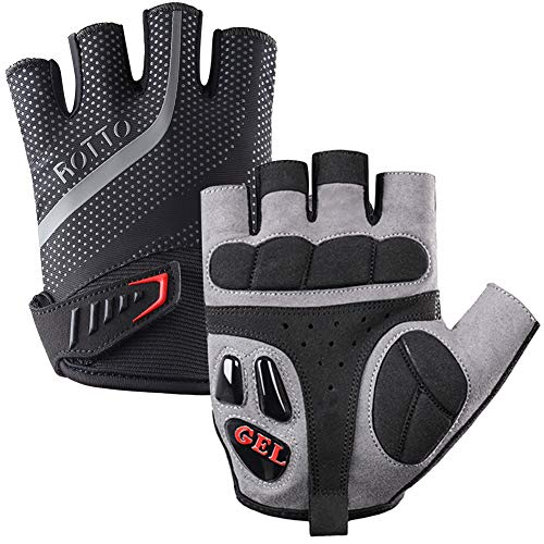 - ROTTO Cycling Gloves Half Finger Mountain Bike Gloves for Men Women with Gel and SBR Padding (Black-Gray, L)