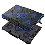 Wsky Laptop Cooler, Ultra Slim Cooling Pad for 12-18 Inch Laptop with 5 Quiet Fans and Blue LED Light, Dual 2 USB 2.0 Ports, Adjustable Mount Stand Height Angle