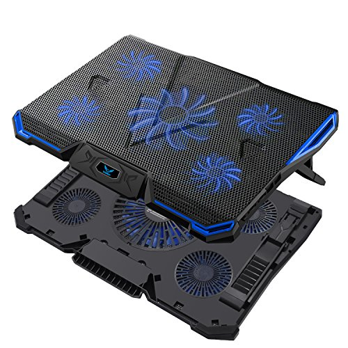 Wsky Laptop Cooler, Ultra Slim Cooling Pad for 12-18 Inch Laptop with 5 Quiet Fans and Blue LED Light, Dual 2 USB 2.0 Ports, Adjustable Mount Stand Height (Cpu Storage Pedestal)