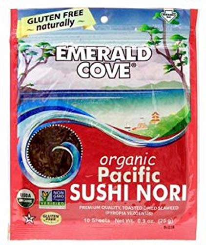 - Emerald Cove Organic Toasted Nori Sheets Package, Pacific Sushi Nori, 0.9 Ounce (Pack of 6)