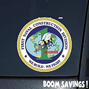 "US Navy SeaBee 1st Naval Construction Division SSI () 6"" Decal Sticker by BoomSavings"