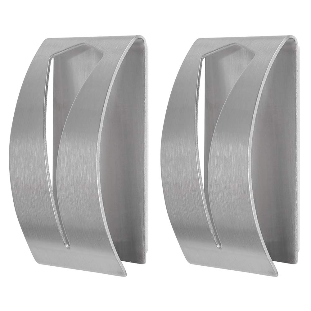FOCCTS 2PCS Brushed Stainless Steel Self Adhesive Towel Holder Hand Towel Hook Rack Hanger Rustproof
