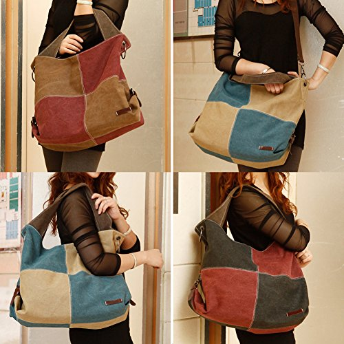 purple Black Shoulder Canvas Bag beige Hand Women's Blue Bag Tote Zp0YHq5w5