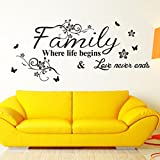 Wall Stickers,Ikevan PVC Decal Removable Art Family Beautiful Flower Wall Stickers Home Words Decor Wall Sticker 75X34cm