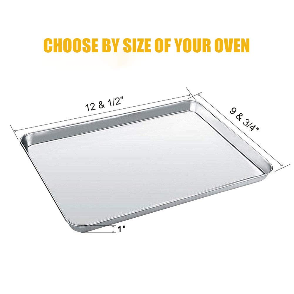 Stainless Steel Baking Sheet with Cooling Rack Set of 4 Tray Cookie Sheet and Rack Set Oven Pan Rectangle Size,Non Toxic /& healthy,Rust Free /& Less Stick,Thick /& Sturdy,Easy Clean /& Dishwasher Safe WEZVIX
