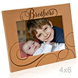 KATE POSH - Brothers Picture Frame Engraved Natural Wood Picture Frame - Big Brother, Little Brother, Birthday Gifts, to My Brother on My Wedding Day Gifts (4x6-Horizontal)