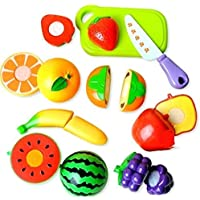 HMC Kids Realistic Plastic Sliceable Play Kitchen Toy with Fruits, Vegetables, Knife, Plate and Cutting-Board (Multicolored)-Set of 7 Pieces