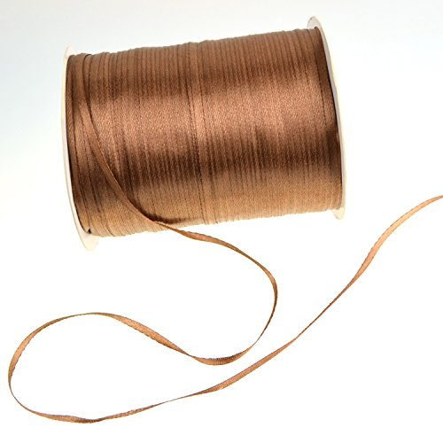 1/8-Inch Satin Ribbon by 870 Yard Giant Spool | Double Face Woven Polyester Ribbon Hanging Tag&Card for Art Projects | No Fading Scrapbook Fabric Ribbon (1/8-Inch x 870 Yard x 1 Spool, Chocolate)