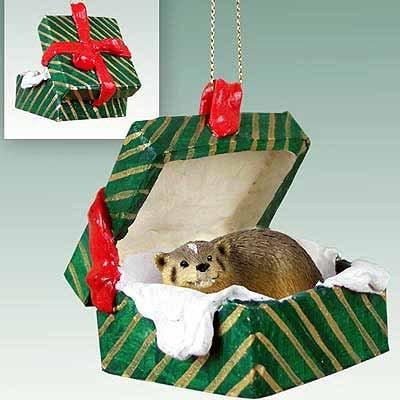 Badger Gift Box Christmas Ornament - DELIGHTFUL!