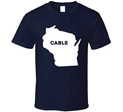 Amazon Com Cable Wisconsin City Map Usa Pride T Shirt Clothing