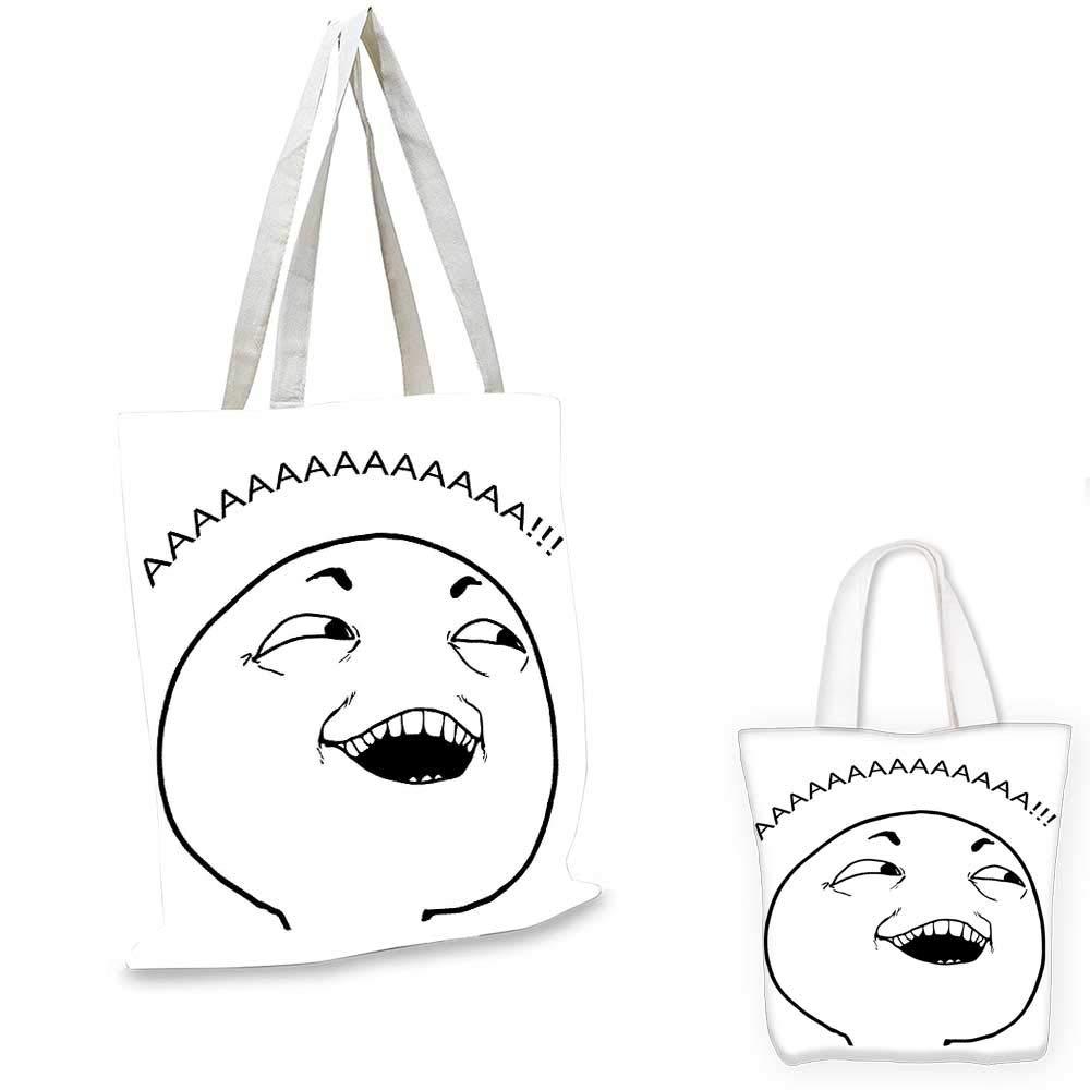 14x16-11 Humor canvas messenger bag Awkward Meme Face with Unusual Facial Gesture Ugly Mock Smug Forum Art Design foldable shopping bag Pearl and Tan
