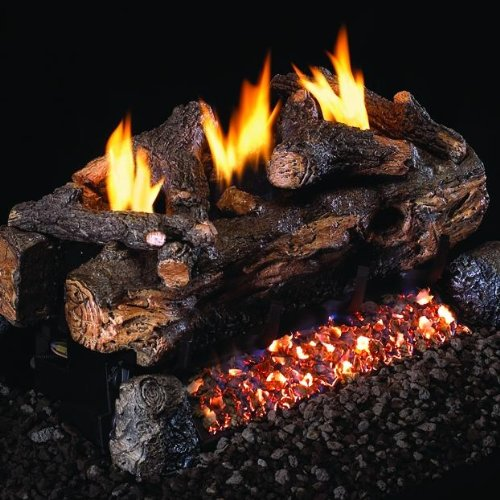 Peterson Real Fygre 18-inch Evening Fyre Split See-thru Lo Set With Vent-free Natural Gas Ansi Certified G18 Burner - Variable Flame Remote ()
