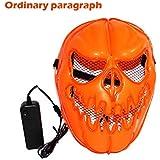 Luminous Pumpkin Mask,Lovewe LED Light Up Pumpkin Skull Face Mask,Flashing Luminous Halloween Costume Party (B)