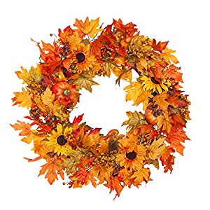 Fall Maple Leaf Wreath Lighted 30 Inches Harvest Leaf, Pumpkins and Berries 102