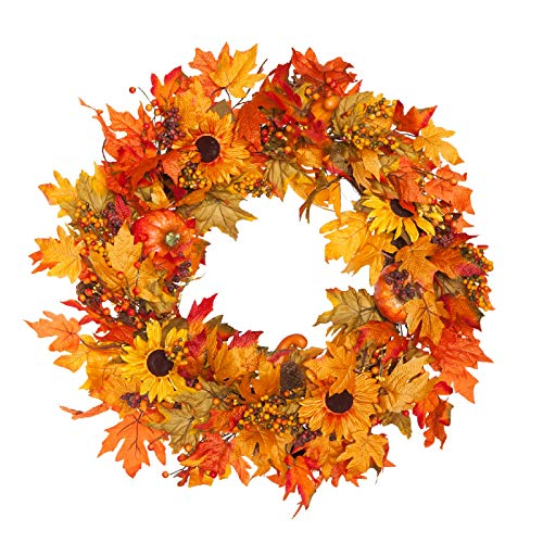 - Fall Maple Leaf Wreath Lighted 30 Inches Harvest Leaf, Pumpkins and Berries