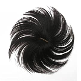 Remeehi 56.5cm Human Real Hair Toppers Mens Toupee Replacement Systems Silk Base Hand Tied Toupee Women Hair Top Piece Dark Brown