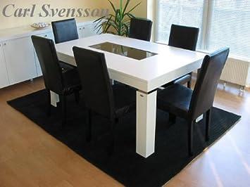 Design esstisch weiß glas carl svensson  Amazon.de: DESIGN ESSTISCH Tisch M-111 weiß getöntes Glas Carl ...