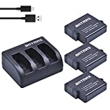 Batmax GoPro Hero 5 6 Replacement Batteries (3 Pack) and 3-Channel LED USB Charger with Type-C Port for GoPro Hero 5 Hero5 Black AHDBT-501 - AHBBP-501(Compatible with v01.50 - v01.55 - v01.57 and v02.00)