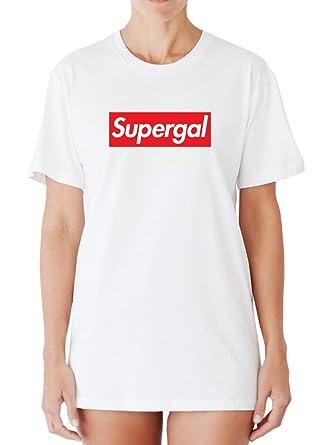 Egoteest Funny Womens t Shirts - Super GAL - Supreme Logo Parody Shirt -  Supreme Parody 3ebc11b6af
