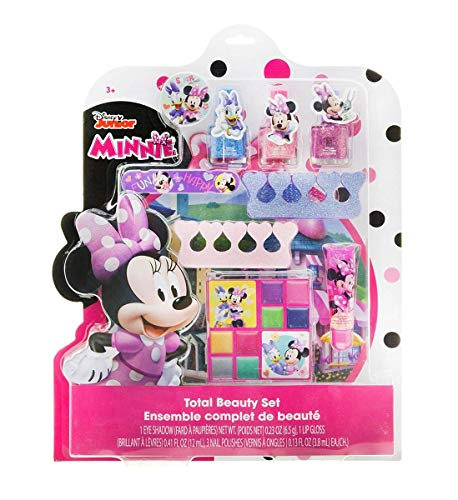 Mozlly Multipack - Disney Junior Minnie Mouse Bowtique Total Beauty Set - Includes Nail Polishes, Hair Ties, Lip Gloss, Eyeshadow and More - Novelty Childrens Make Up (Pack of 3)