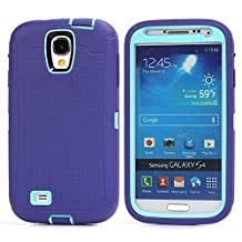 MOONCASE Galaxy S4 Case, 3 Layers Heavy Duty Defender Hybrid Soft TPU +PC Bumper Triple Shockproof Drop Resistance Protective Case Cover for Samsung Galaxy S4 I9500 -Purple Blue