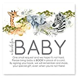 Jungle Animal Bring a Book for Baby Shower Invitation Insert Cards Set of 25