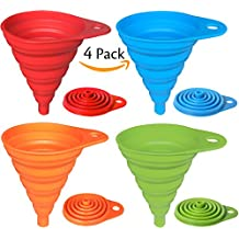 Hibery 4 Pack Silicone Collapsible Funnel, Flexible / Foldable / Kitchen Funnel for Liquid Transfer 100% Food Grade Silicone FDA Approved Silicone Small Funnel