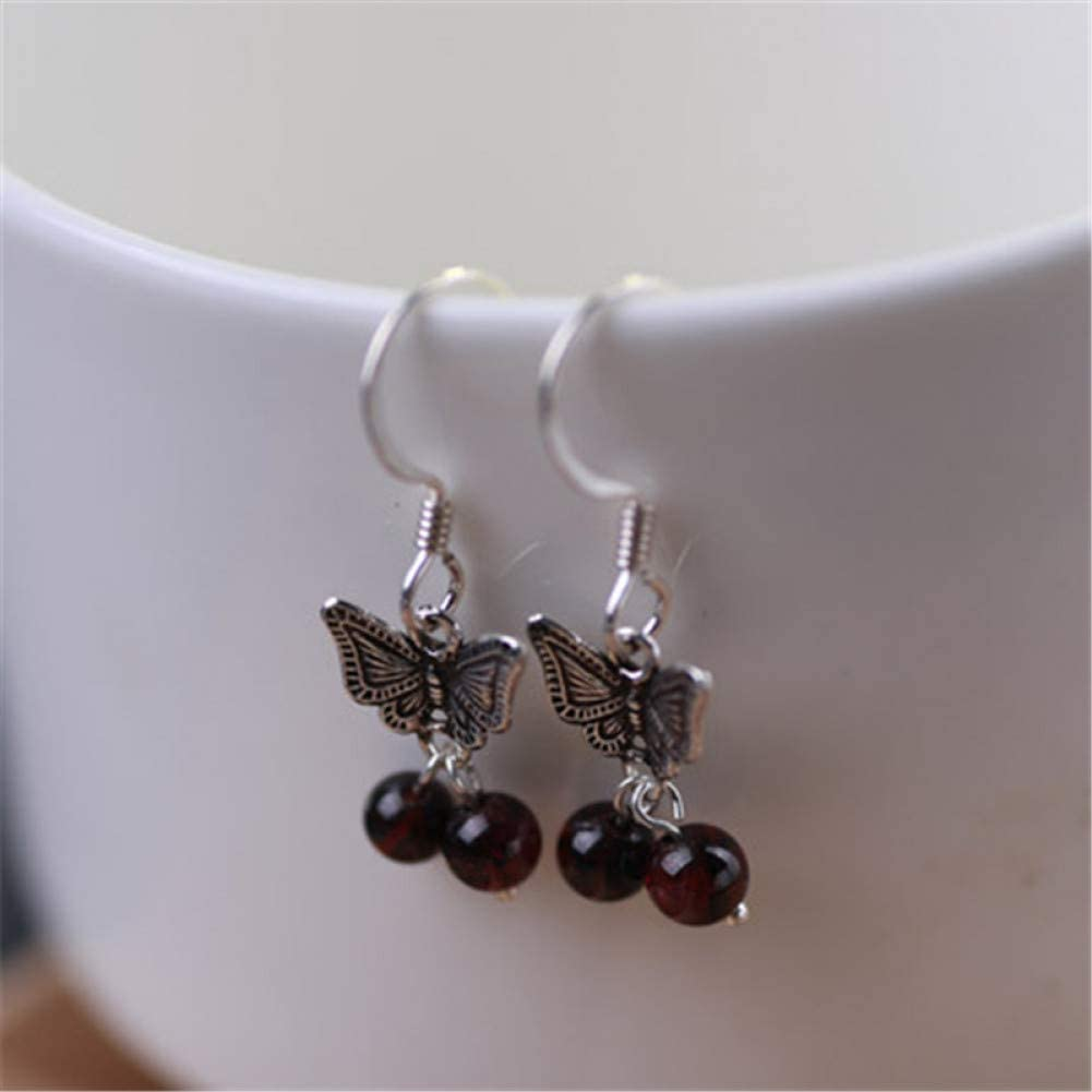 LINLIN Pendientes de Mariposa con Granate Redondo para MujerJoyería de Plata esterlina 925Hecha a Mano Femenina
