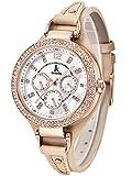 Alienwork Quarz Armbanduhr Multi-funktion Quarzuhr Uhr Perlmutt Strass weiss beige Leder K002GA-07
