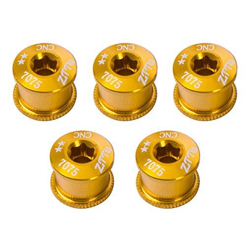 (Ztto 5PCS 7075 Aluminum Alloy CNC Bicycle Chainring Screws Bolt Bolts Road MTB Bicycle Crankset Parts (Gold,)