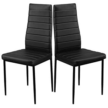 1home Dining Chair High Back Modern Faux Leather Kitchen Dining Room Table Chairs Metal Legs Black