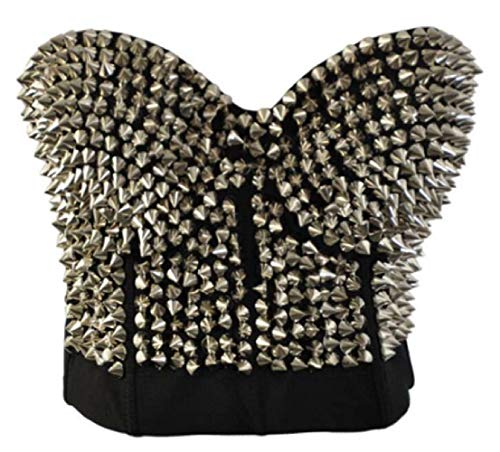 GRMO Women Clubwear Punk Rivet Spike Metallic Goth Bras Tops Silver US - Collar Spike Metallic