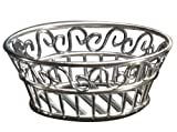 "American Metalcraft (SSLB94) 9"" Round Stainless Steel Scroll Bread Basket"
